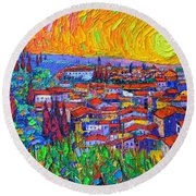 Florence Sunset 7 Modern Impressionist Abstract City Impasto Knife Oil Painting Ana Maria Edulescu Round Beach Towel