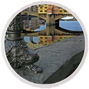 Florence The Old Bridge Round Beach Towel