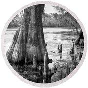 Florida Cypress, Hillsborough River, Fl In Black And White Round Beach Towel