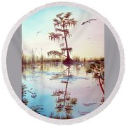 Florida Everglades Study # 1 Round Beach Towel