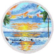 Florida Keys Beach Sunset Round Beach Towel