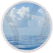 Florida Keys Clouds And Ocean Round Beach Towel