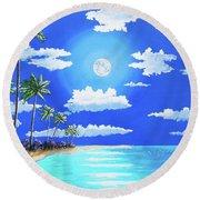 Florida Keys Moon Rise Round Beach Towel