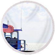 Florida Keys Patriot Round Beach Towel