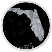 Florida Map Music Notes 2 Round Beach Towel