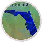 Florida Map Round Beach Towel