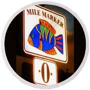 Florida Mile Marker 0 Round Beach Towel