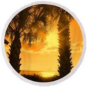 Florida Orange Round Beach Towel