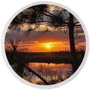 Florida Pine Sunset Round Beach Towel