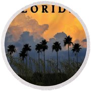 Florida Poster Round Beach Towel