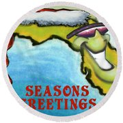 Florida Seasons Greetings Round Beach Towel