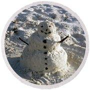 Florida Snowman Round Beach Towel