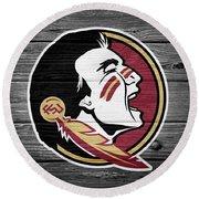 Florida State University Seminoles Logo On Weathered Wood Round Beach Towel