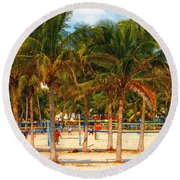Florida Style Volleyball Round Beach Towel