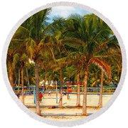 Florida Style Volleyball Round Beach Towel