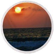 Florida Sunset 1 Round Beach Towel