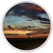 Florida Sunset Winding Road 2 Round Beach Towel