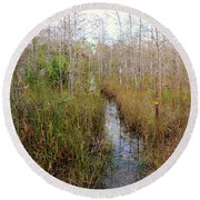 Florida Trail Big Cypress Round Beach Towel