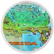 Florida Usa Cartoon Map Round Beach Towel