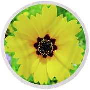 Florida - Yellow - Wildflower Round Beach Towel