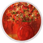 Florists Red Round Beach Towel