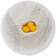 Flour And Eggs Round Beach Towel