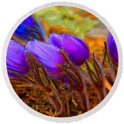 Flourescent Flowers Round Beach Towel