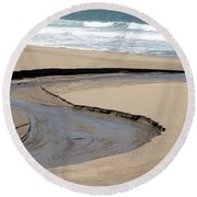 Flow - Scott Creek  Round Beach Towel