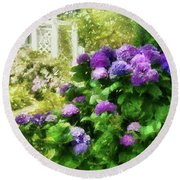 Flower - Hydrangea - Lovely Hydrangea  Round Beach Towel by Mike Savad