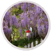 Flower - Wisteria - A House Of My Own Round Beach Towel by Mike Savad