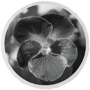 Flower 5 - Black And White Round Beach Towel