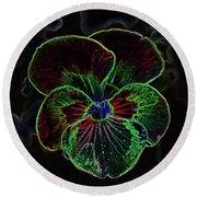 Flower 5 - Glowing Edges Round Beach Towel