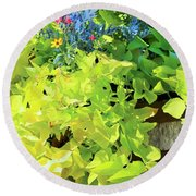 Flower Among Leaves Round Beach Towel
