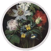 Flower And A Delphinium In A Glass Vase Round Beach Towel