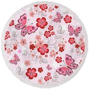 Flower And Butterfly Bj01 Round Beach Towel