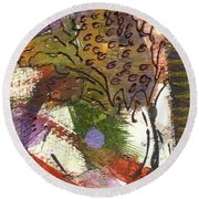 Flower And Leaves II Round Beach Towel