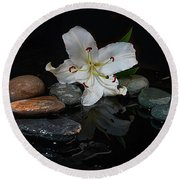 Flower And Stone Round Beach Towel