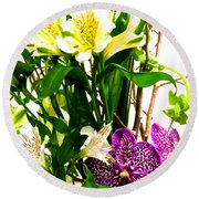 Flower Arrangement 1 Round Beach Towel