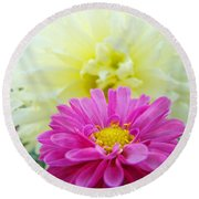 Flower Art Print White Pink Dahlia Floral Canvas Baslee Troutman Round Beach Towel