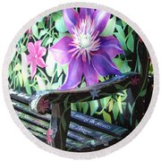 Flower Bench Round Beach Towel