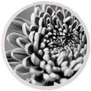Flower Black And White Round Beach Towel