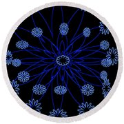 Flower Blue Round Beach Towel