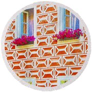 Flower Boxes In Slavonice Round Beach Towel