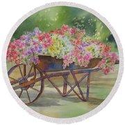Flower Cart Round Beach Towel