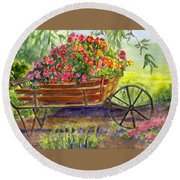 Flower Cart Round Beach Towel