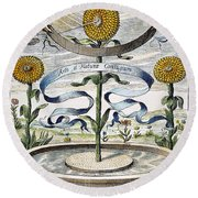 Flower Clock, 1643 Round Beach Towel