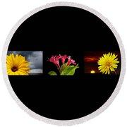 Flower Composite Trio Horizontal Round Beach Towel
