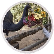 Flower Delivery By Trunk Round Beach Towel