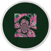 Flower Design Round Beach Towel by Karol Livote