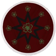 Star Flower - Red Round Beach Towel